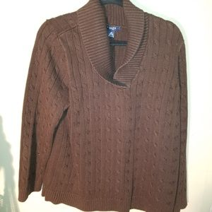 Chaps Chocolate  Brown Sweater